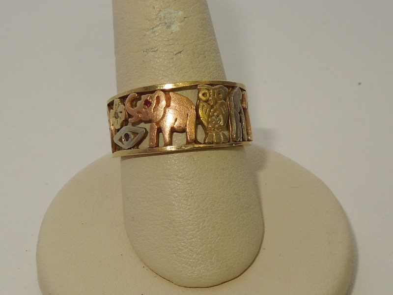 Lady's Gold Ring 14K Tri-color Gold 5.3g Size:8.5