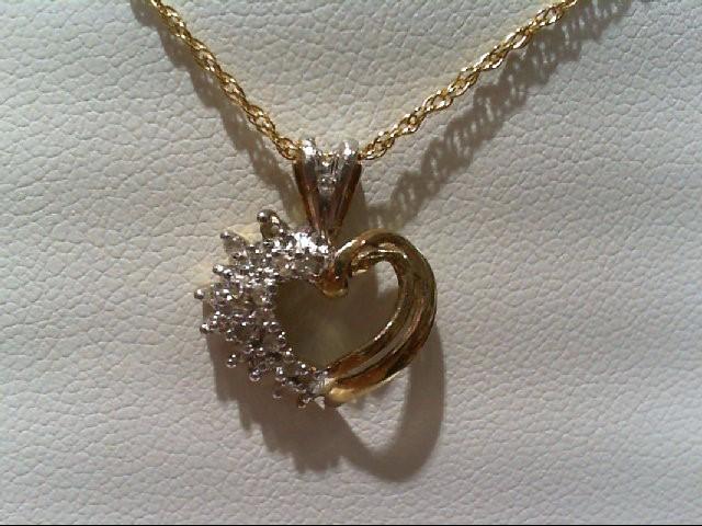 Gold-Multi-Diamond Pendant 15 Diamonds .15 Carat T.W. 10K 2 Tone Gold 1.1g