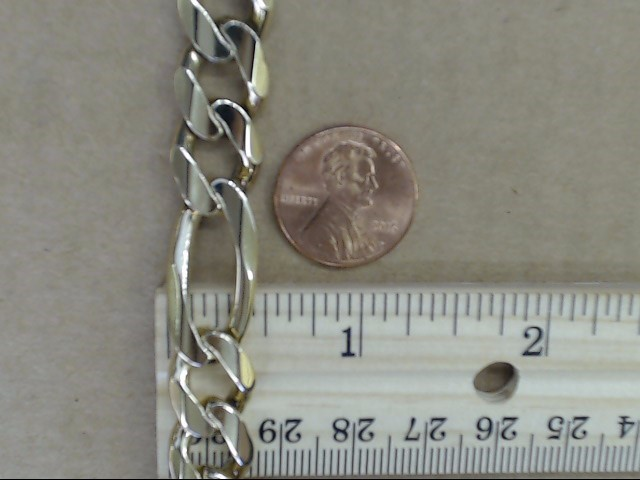 """ESTATE FIGARO CHAIN BRACELET SOLID REAL 14K GOLD ITALY HEAVY 43g 9"""""""