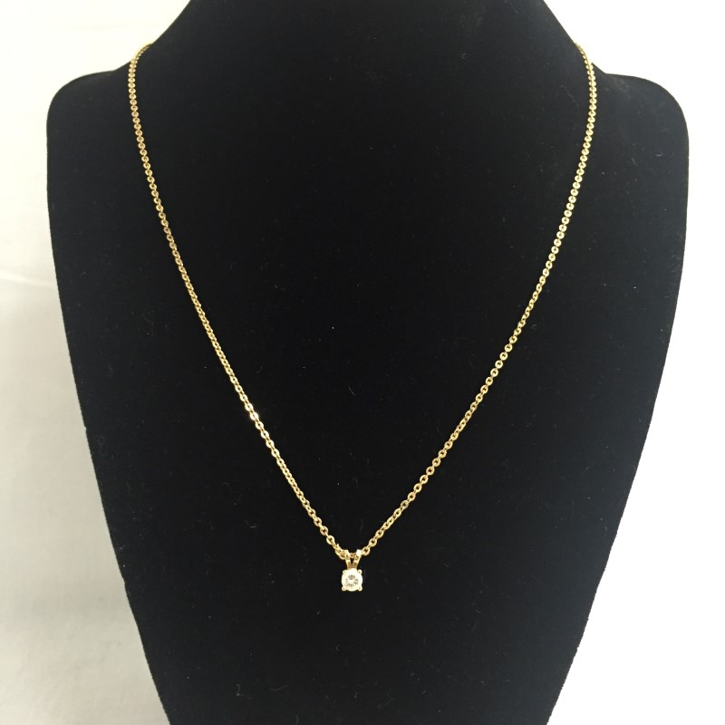 "19"" Diamond Necklace .25 CT. 14K Yellow Gold 2.5dwt"