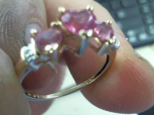 Pink Stone Lady's Stone & Diamond Ring 2 Diamonds .02 Carat T.W.