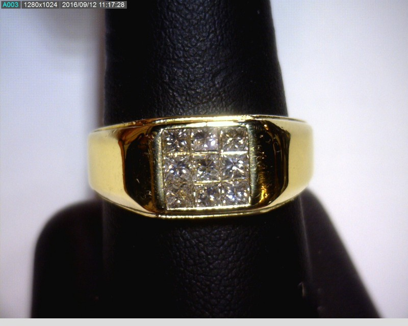 Gent's Diamond Cluster Ring 9 Diamonds .72 Carat T.W. 14K Yellow Gold 5.5dwt