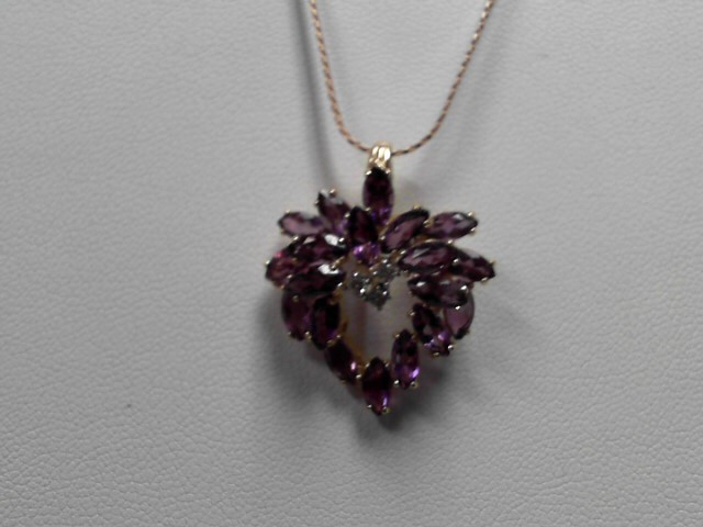 Amethyst  Necklace 14K Yellow Gold 7.1g Pendant w Chain