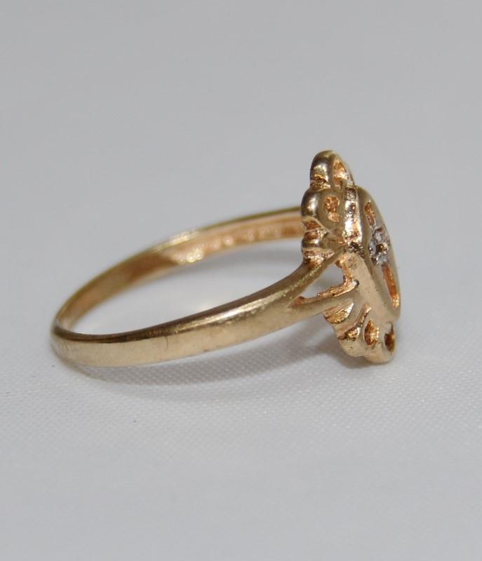 10K Yellow Gold Split Shank Diamond Open Work Cross Cut Out Baby/Childs Ring AAJ