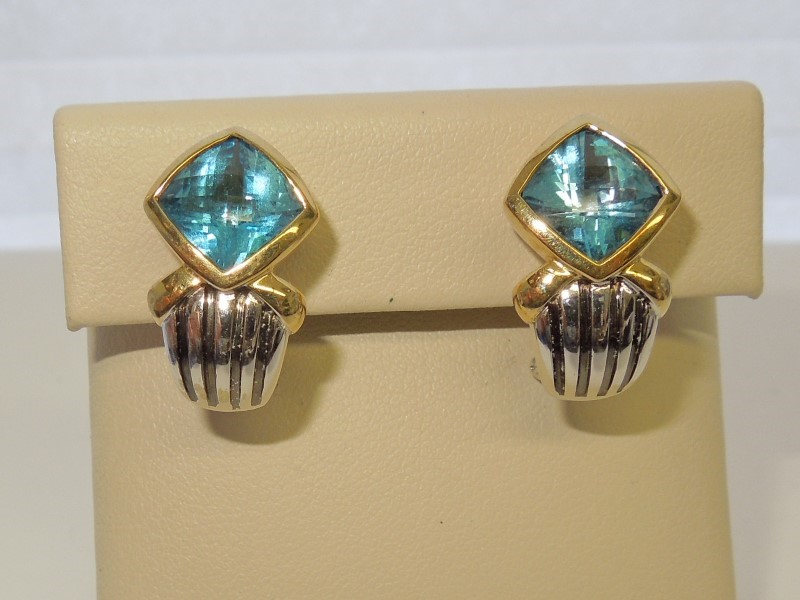 Synthetic Blue Topaz Gold-Stone Earrings 14K 2 Tone Gold 10.6g