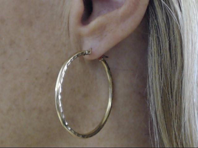 """VINTAGE LARGE 1.5"""" CIRCLE HOOP EARRINGS REAL 10K GOLD DIAMOND CUT"""