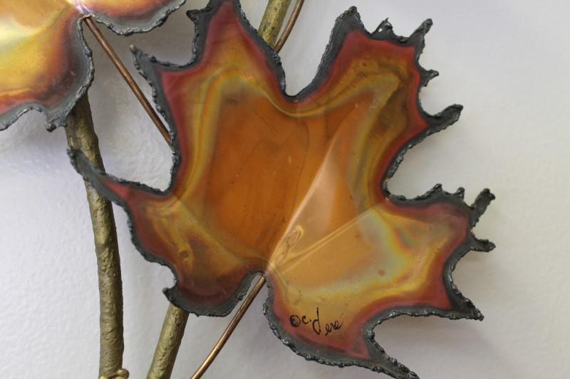 Vintage Curtis Jere Metal Copper Maple Leaves Mid Century