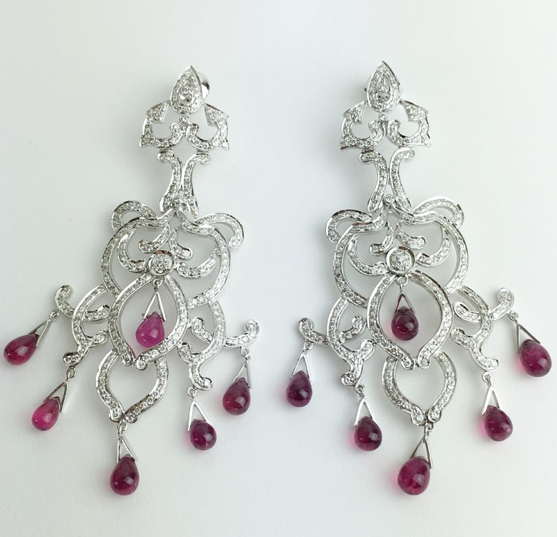 Ruby Diamond Vintage Earrings 446 Diamonds 4.46 Carat T.W. 18K White Gold