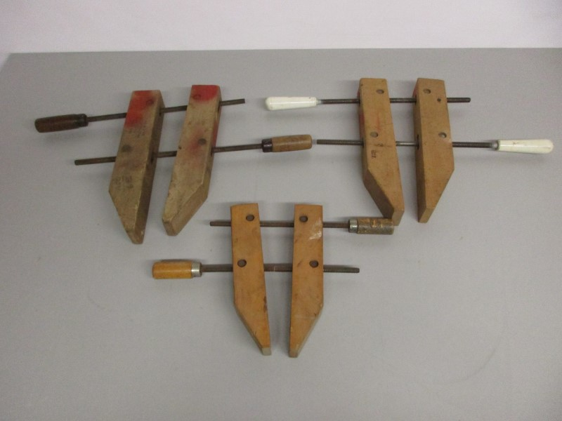 LOT OF THREE (3) WOODEN CLAMPS (JORGENSON, BRINK & COTTON)