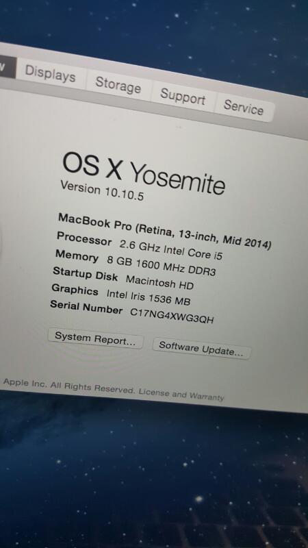 """MacBook Pro Retina 13.3"""" (Mid 2014, 2.6GHz, i5, 8GB, 128GB)"""