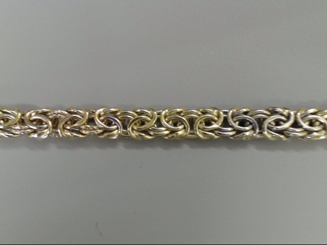 ESTATE BYZANTINE BRACELET SOLID 14K GOLD TRI COLOR ITALY 8.4g 7.5""