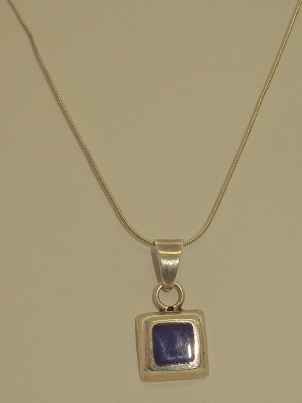 """17.6"""" Synthetic Lapis Stone Necklace 925 Silver 7.8g"""