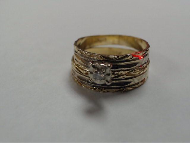 Lady's Diamond Wedding Set .05 CT. 14K Yellow Gold 3.5g