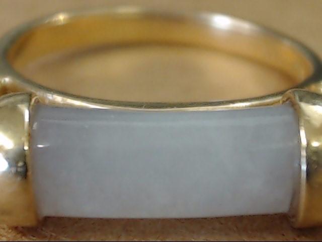ESTATE LAVENDER STONE CYLINDER BAR RING SOLID REAL 14K GOLD SZ 6.75