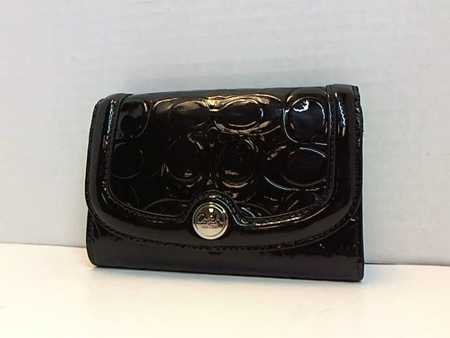 COACH BLACK PATENT SIGNATURE MONOGRAM LEATHER WALLET