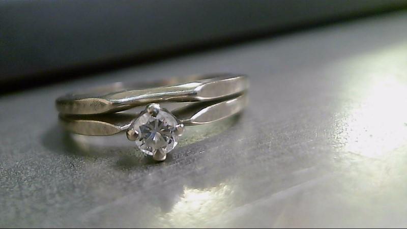 Lady's Diamond Wedding Set .17 CT. 18K White Gold 3.9g