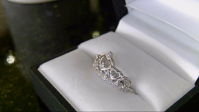 Lady's sterling silver 925 sz 9 cubic zirconia heart crown ring