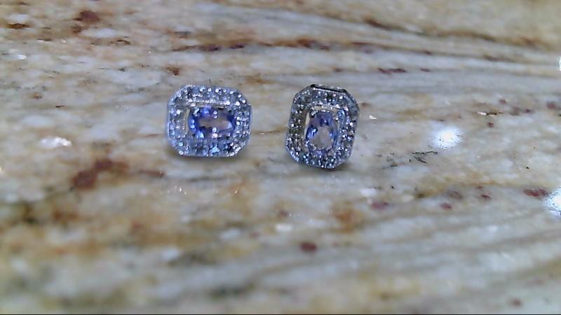 Tanzanite Gold-Diamond & Stone Earrings 18 Diamonds .18 Carat T.W.
