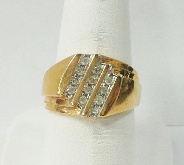 Gent's Diamond Fashion Ring 14 Diamonds .70 Carat T.W. 10K Yellow Gold 3.02dwt