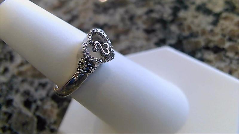 Lady's Silver-Diamond Ring 26 Diamonds .140 Carat T.W. 925 Silver 4.4g Size:6.8