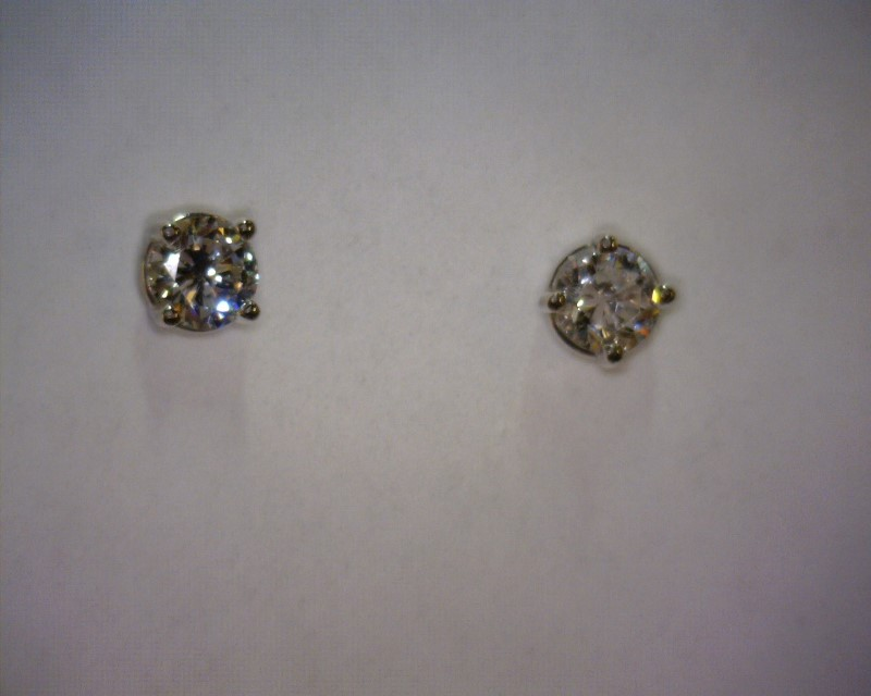 Gold-Diamond Earrings 2 Diamonds .52 Carat T.W. 14K White Gold 0.56dwt