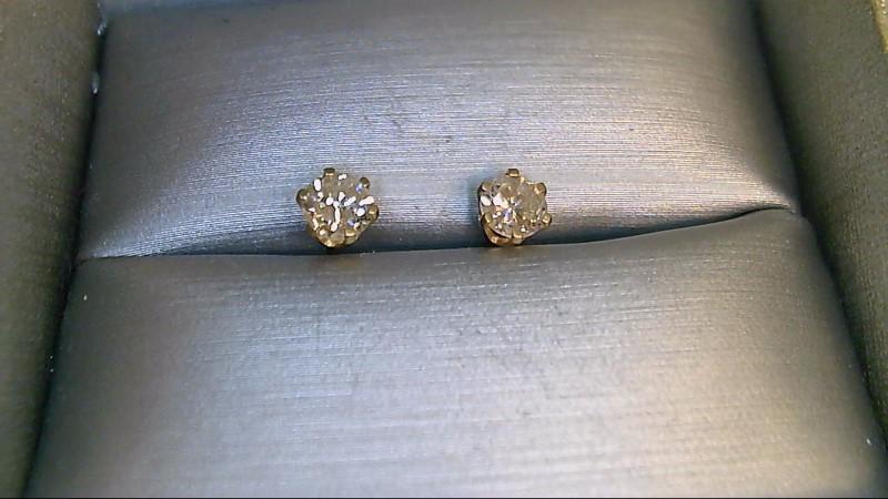 Gold-Diamond Earrings 2 Diamonds .72 Carat T.W. 14K Yellow Gold 0.68g