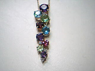 Purple Stone Stone Necklace 10K Yellow Gold 2.4g