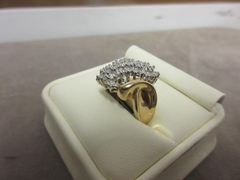Lady's Diamond Cluster Ring 36 Diamonds 2.16 Carat T.W. 10K Yellow Gold 5.96g