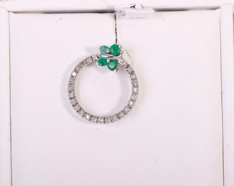 Emerald Gold-Diamond & Stone Pendant 23 Diamonds .23 Carat T.W. 10K White Gold