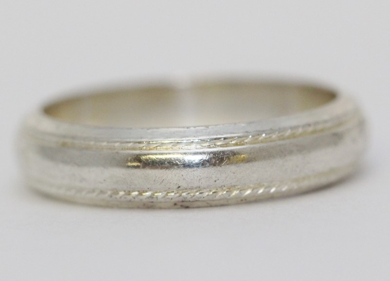 Sterling Silver Rope Detail Plain Stoneless Wedding Band Ring Size 9