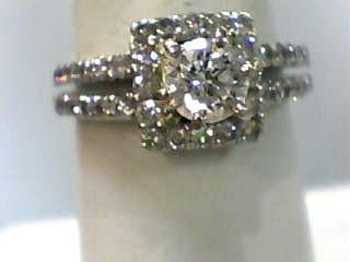 Lady's Diamond Engagement Ring 41 Diamonds 1.38 Carat T.W. 14K White Gold 3dwt