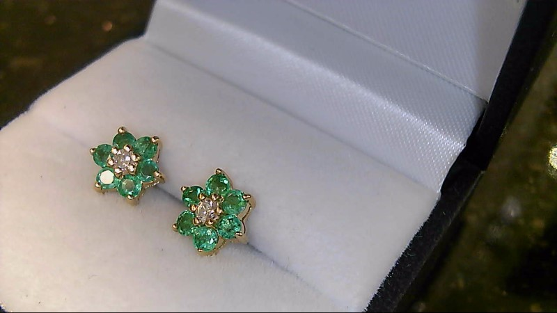 Lady's 14k yellow gold genuine round emerald and round diamond earrings