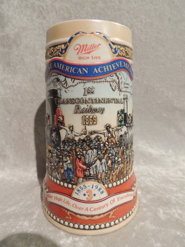 Miller High Life Great American Achievements Stein 1st Transcontinental Railway