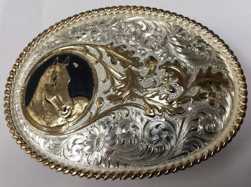 "MONTANA SILVERSMITHS HORSE HEAD BELT BUCKLE, 2.5"" x3.5"", SILVER PLATED COPPER"