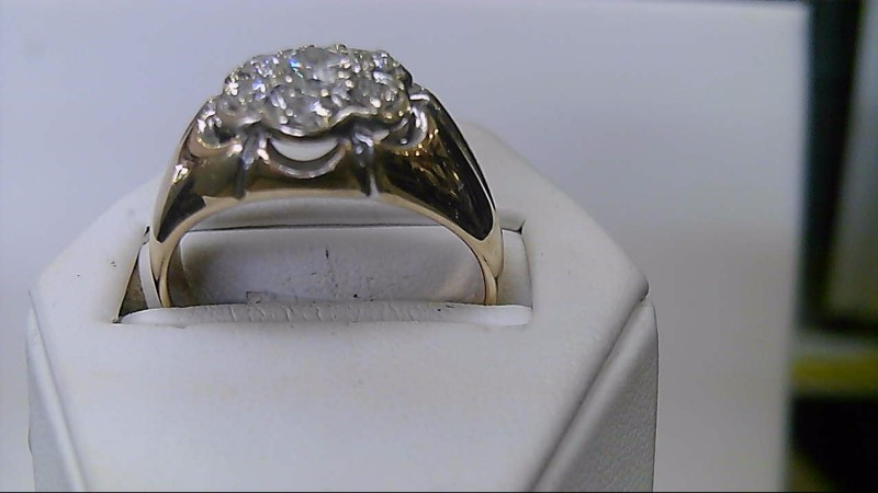 gents 14k yellow gold apx. 1cttw round diamond cluster ring
