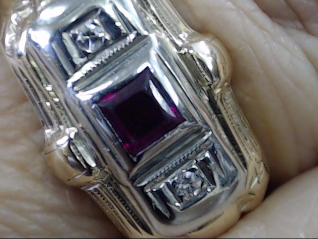 VINTAGE PRINCESS CUT RUBY DIAMOND RING BAND SOLID 14K GOLD SIZE 6.75