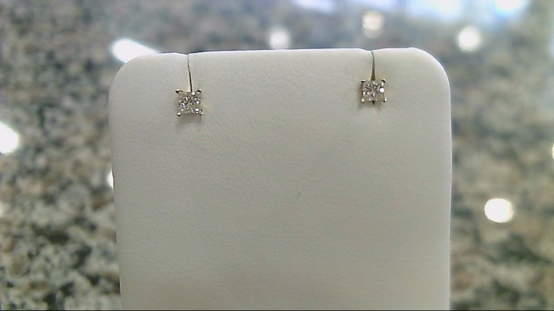 Gold-Diamond Earrings 2 Diamonds .24 Carat T.W. 14K Yellow Gold 0.5g