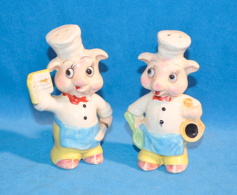 JAPAN MARKED PIGS CHEF & COOK SALT & PEPPER SHAKERS