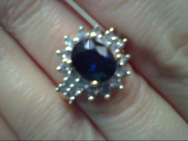 Blue Stone Lady's Stone & Diamond Ring 22 Diamonds .44 Carat T.W.