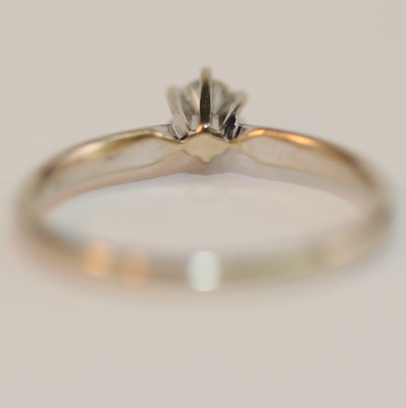 14K White Gold Round Brilliant Cut Diamond Solitaire Ring Size 7
