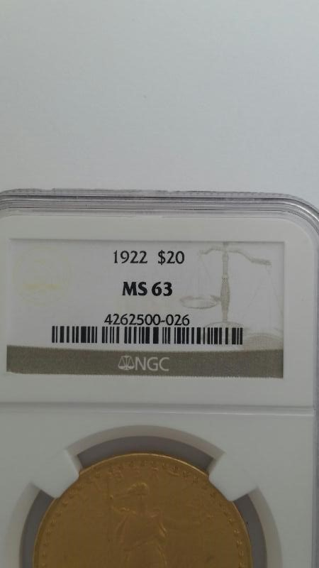 1922 ST GAUDENS GOLD DOUBLE EAGLE COIN NGC GRADED MS 63 20$