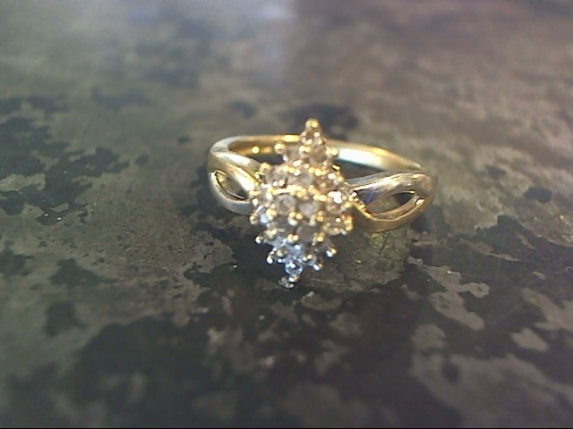 Lady's Diamond Cluster Ring 20 Diamonds .20 Carat T.W. 10K 2 Tone Gold 1.7dwt