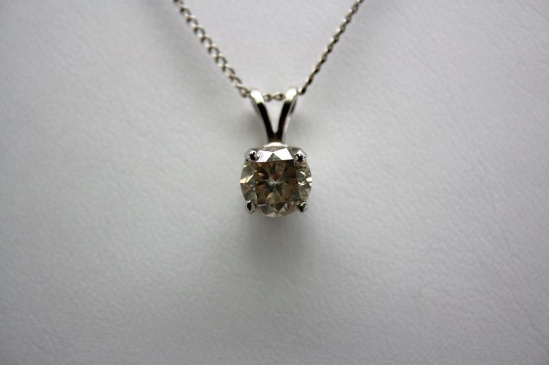 SOLITAIRE DIAMOND PENDANT 18K WHITE GOLD