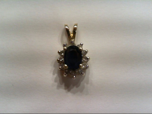 Sapphire Gold-Diamond & Stone Pendant 12 Diamonds .12 Carat T.W.