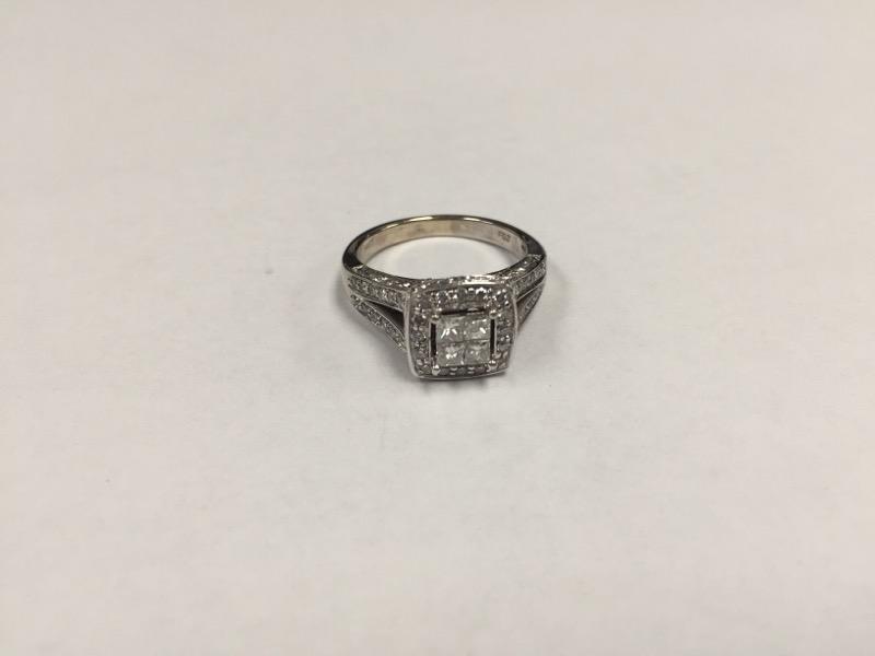 Lady's Diamond Engagement Ring 50 Diamonds .94 Carat T.W. 14K White Gold 5.2g