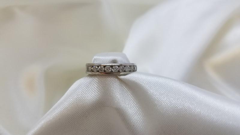 Lady's Diamond Channel Anniversary Ring 11 Diamonds .55 C.T.W. 14K White Gold