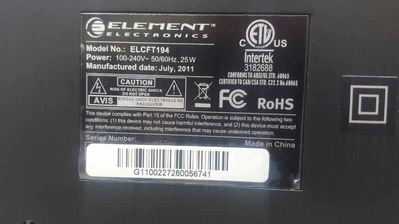 ELEMENT ELECTRONICS Flat Panel Television ELCFT194