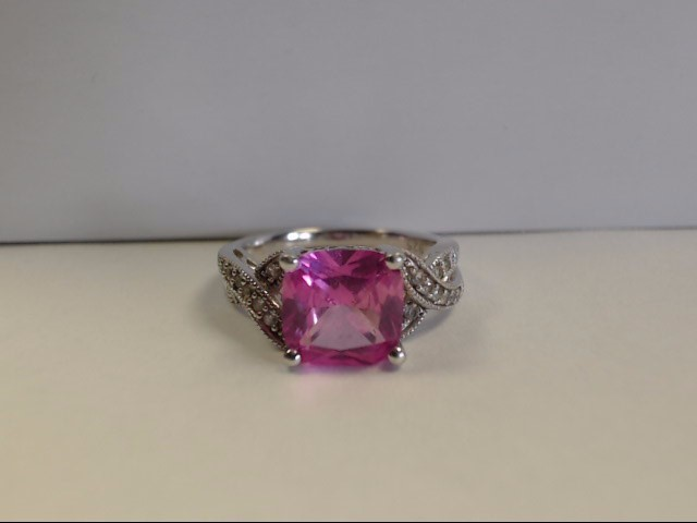 Pink Stone Lady's Silver & Stone Ring 925 Silver 4.3g
