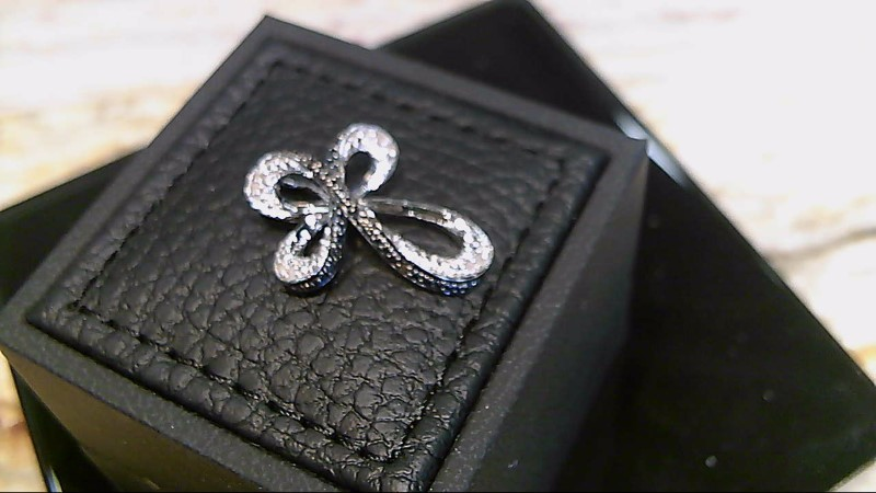 Lady's sterling silver 925 black and white cubic zirconia cross pendant