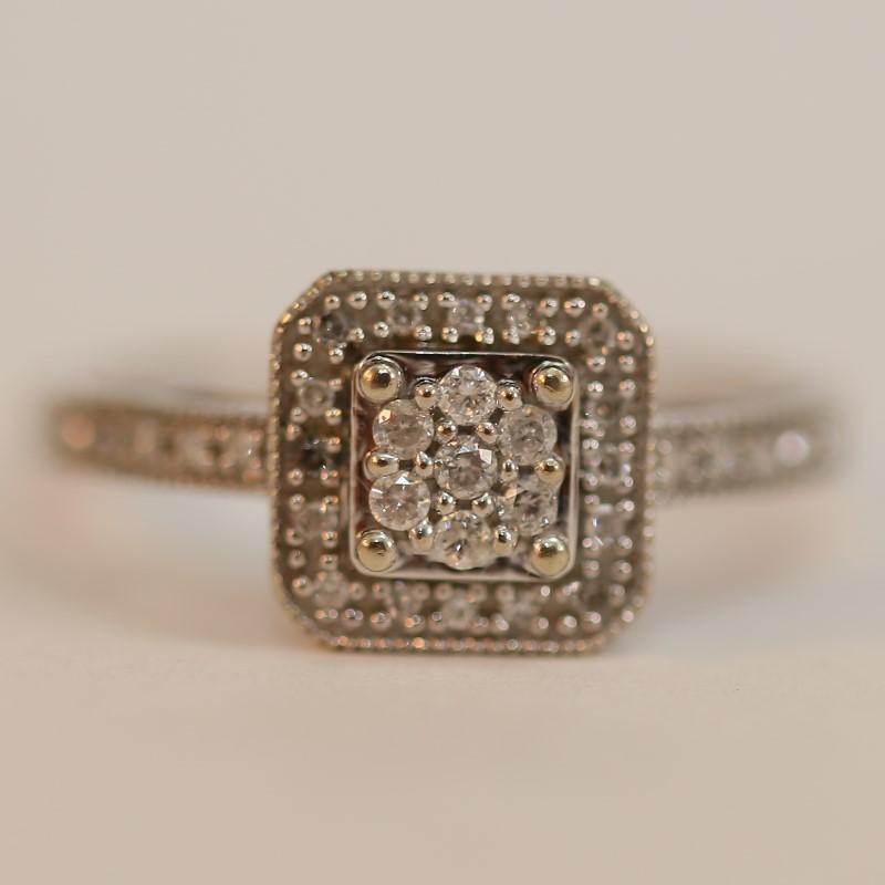 Lady's Diamond Engagement Ring 33 Diamonds .66 Carat T.W. 10K White Gold 2.7g